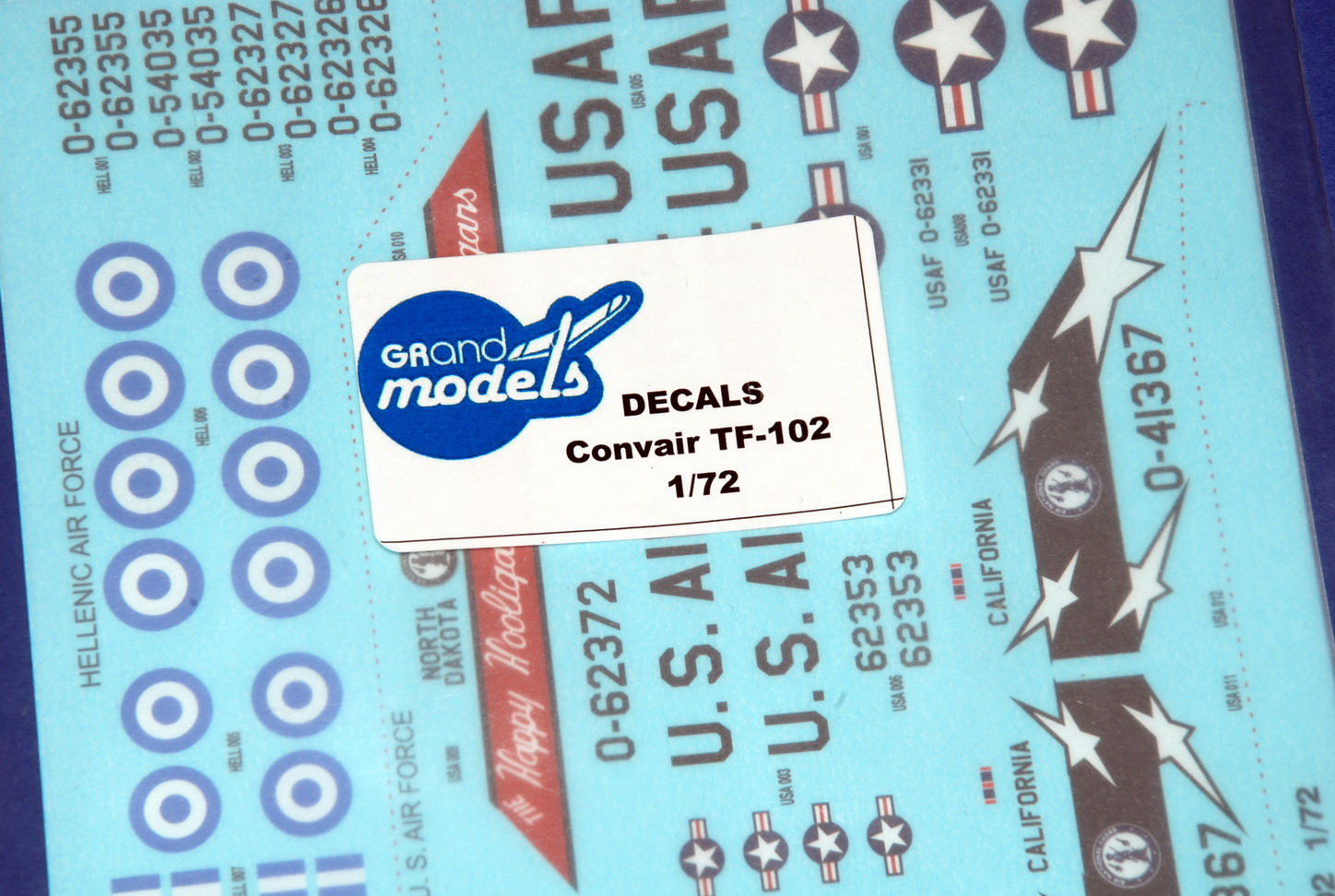 GRAND MODELS Convair TF-102 Decals 1/72 (GM-72003)